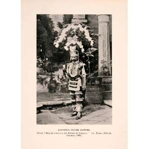 Print Zapoteca Plume Dancer Mexico Costume Indigenous People Hat
