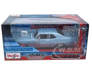 model of 1970 Chevrolet Nova SS Blue Pro Street Pro Rodz by Maisto