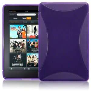 KINDLE FIRE TPU GEL SKIN CASE   PURPLE, WITH MICROFIBRE CLEANING CLOTH