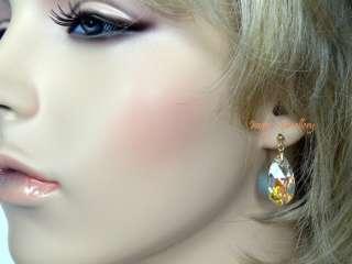 Swarovski Crystal Clear AB Teardrop Earrings 14kt Gold