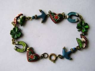 ANTIQUE GERMAN BRASS ENAMEL CHARM BRACELET w 10 CHARMS Clover Anchor
