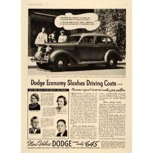 1935 Ad Vintage Dodge Touring Sedan Virginia Cross