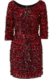 6,300 NEW DOLCE & GABBANA RED SEQUINED SILK LEOPARD PRINT DRESS 40   6