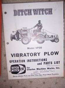 1965 Ditch Witch VP30 Vibratory Plow Manual Part List E