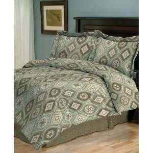 Jessica Sanders Bedding, Perla Green Brown Jacquard 4 Piece Comforter