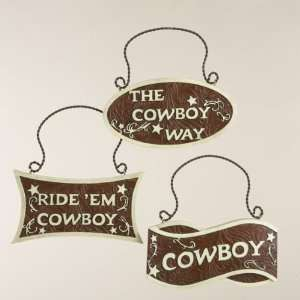 Western Cowboy Plaque Christmas Ornaments 3.75