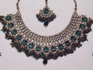 Teal Costume Fashion Jewelry Kundan Design Traditional Necklace