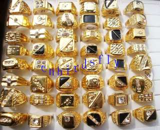 Wholesale mixed lots 25pcs gold plated Man rings