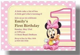 Disney Minnie Mouse 1st birthday custom Invitations