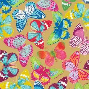 Butterflies Gold Rolled Gift Wrap Paper Health & Personal