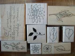 Wood Mounted Rubber stamp sets, U Pick many to choose garden floral