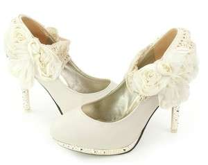 Wedding Ivory Shoes Ankle Knot Platform High Heel Lace Flowers Shoes