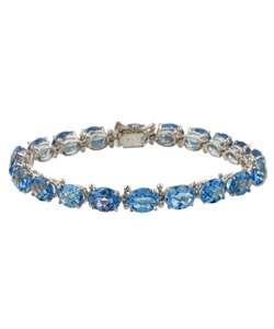 10k White Gold Swiss Blue Topaz Bracelet