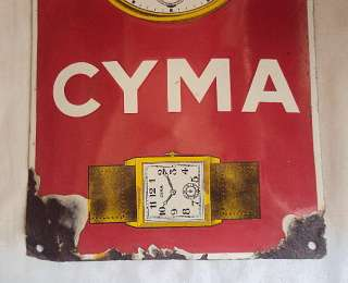CYMA WATCHES VINTAGE Porcelain Enamel Sign Very Rare
