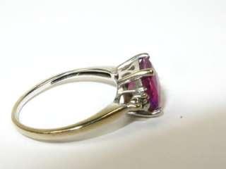 75ct Natural Pink Tourmaline & Diamond 10k White Gold Ring 2.2g