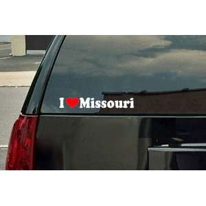 I Love Missouri Vinyl Decal   White with a red heart