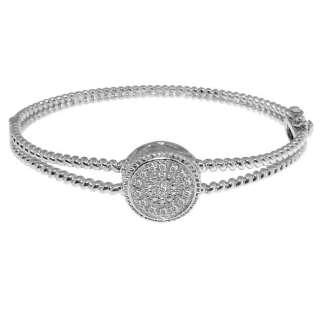 Sterling Silver Genuine Diamond Rope Circle Bracelet