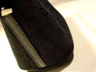 AUTHENTIC GUCCI BLACK MONOGRAM CANVAS BLACK LEATHER TRIM POCHETTE BAG