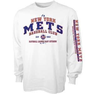 Majestic New York Mets Fan Club Youth White Long Sleeve T