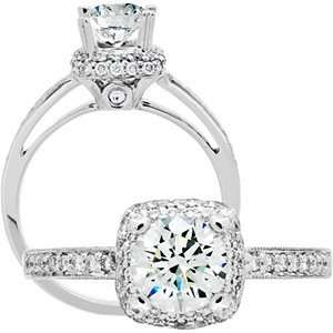 Brilliant Center 18kt White Gold Diamond Ring Carat Total Weight 1.01