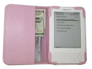 mCover® PINK Leather Folio Cover for  Kindle 3