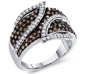 CT Brown Chocolate Diamond Ring Women Band White Gold