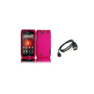 DROID 4 (Verizon) Premium Combo Pack   Hot Pink Hard Shield Case