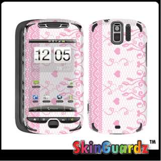 Pink Lace White Vinyl Case Decal Skin To Cover HTC MyTouch 3G Slide