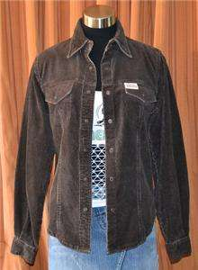 HARLEY DAVIDSON LONG SLEEVE BROWN CORDUROY COTTON HD SHIRT LADIES