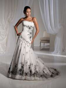custom bridal wedding dress prom ball lace up A line White&Black Lace