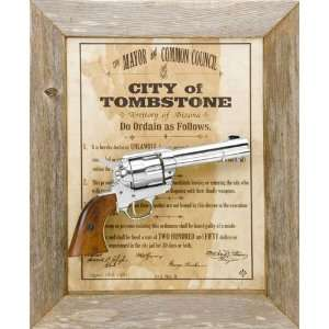 TOMBSTONE BARNWOOD FRAMED SET NON FIRING REPLICA GUN