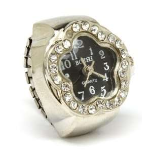 Black Face Flower Ring Watch with Ice Crystals on Adjustable Stretch