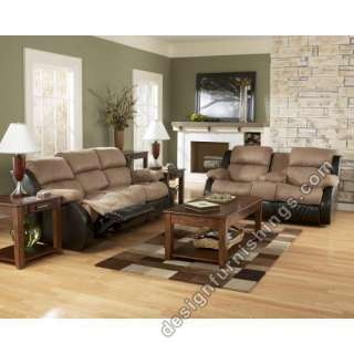 Ashley Presley Double Recliner Loveseat and Sofa Brown