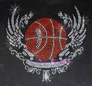Basketball Angel Wing Banner Rhinestone Iron on Transfer Hot Fix Bling