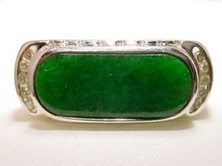 14KT WHITE GOLD IMPERIAL JADE & DIAMOND SADDLE RING