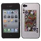 Hard Skin Cover Case for Apple iPhone 4 4G Poker Spades Q Silver USA