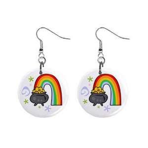 Pot of Gold Rainbow Irish St Patricks Day Dangle Earrings