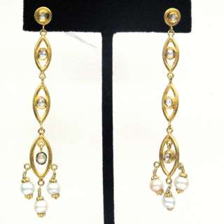 22K SOLID YELLOW GOLD PAVE DIAMOND EARRING VINTAGE STYLE WEDDING