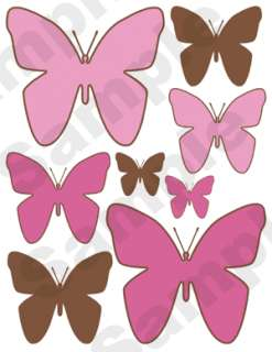 PINK BROWN BUTTERFLY GIRL WALL BORDER STICKERS DECALS