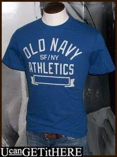 Mens Old Navy SF/NY Athletics T Shirt S, M, L NWT Blue White TeeNEW