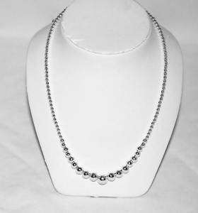 New Sterling Silver Graduated Bead Necklace Italy 18