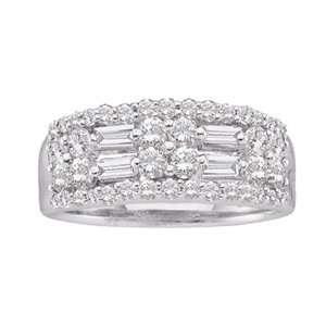 1 Carat Baguette Round Diamond 14k White Gold Anniversary