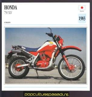 1983 HONDA 750 XLV Dirt Bike Motorcycle Picture CARD