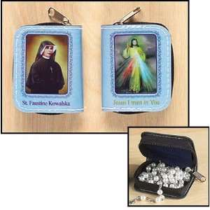 St Saint Faustina Divine Mercy and Rosary Case with Holy Prayer Cards
