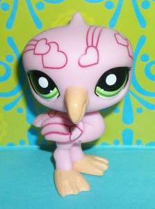 Littlest Pet Shop~RARE PINK HEART FLAMINGO BIRD~E199