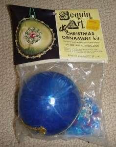 Vtg Sequined Beaded MEDALLION Christmas Ornament Kit