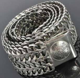 Vintage Eagle 1 Sterling Silver Aztec Mayan Wide Chain Link Belt Heavy