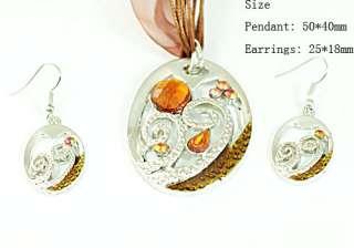 h7721 Ladys Brown Drop Gemstone Zircon Necklace Pendant Earrings set