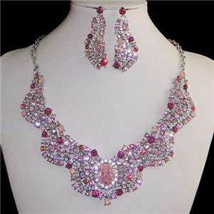 Circle Oval Wave Pink Swarovski Crystal Necklace Earring Set