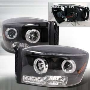 06 09 Dodge Ram Projector Headlights   Black Clear